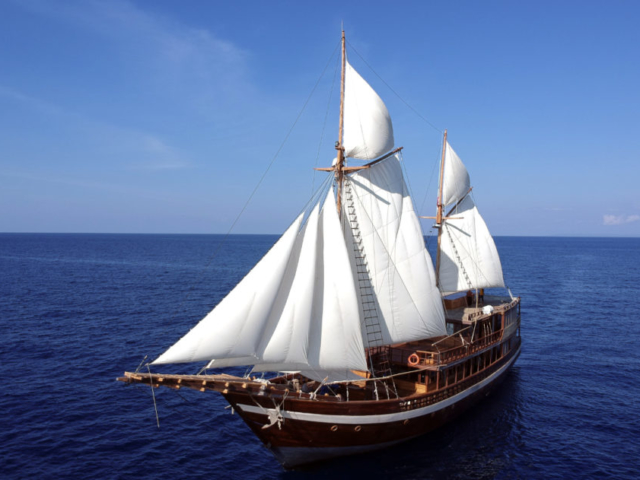 full view of our Coralia Liveaboard in Indonesia