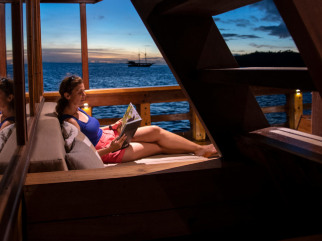 area for reading and sunbathing on our Coralia Liveaboard in Indonesia