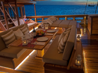 dining ambience on the main deck of our cruise ship Coralia in Indonesia