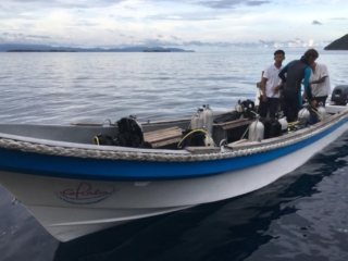 boat for diving from our cruise ship Coralia in Indonesia