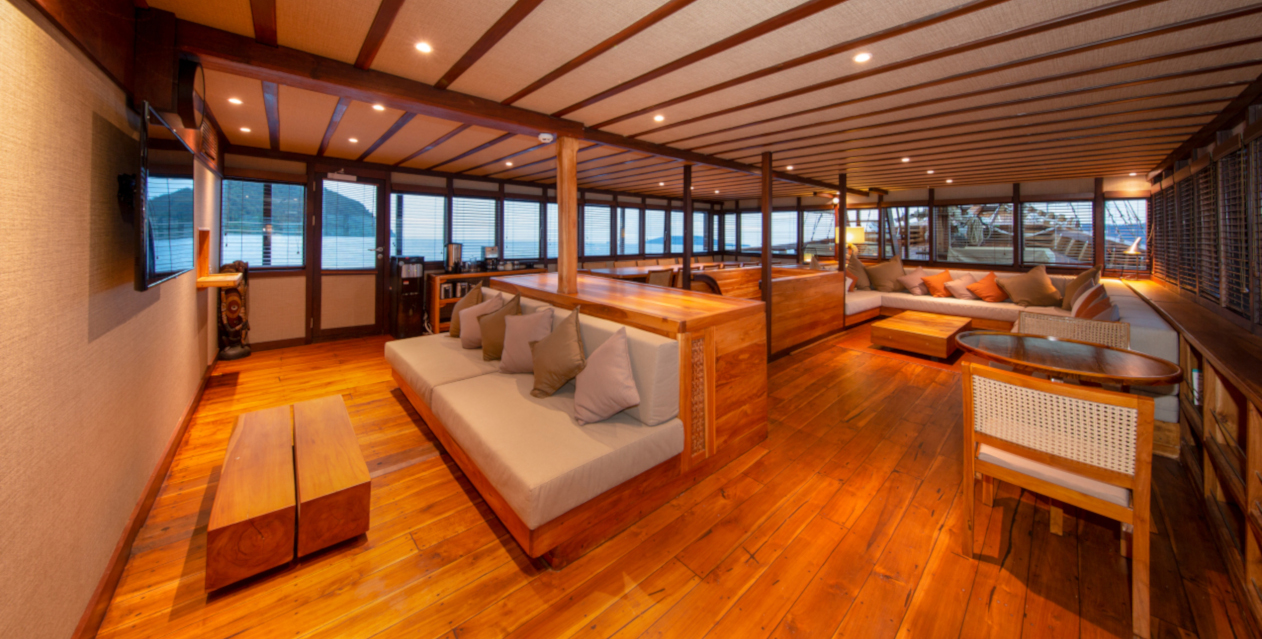 airconditioned hangout and television area on our Coralia Liveaboard in Indonesia