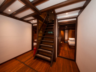 staircase on the lower deck of our cruise ship Coralia in Indonesia