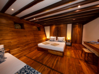 cabin with one double bed on our Coralia Liveaboard in Indonesia