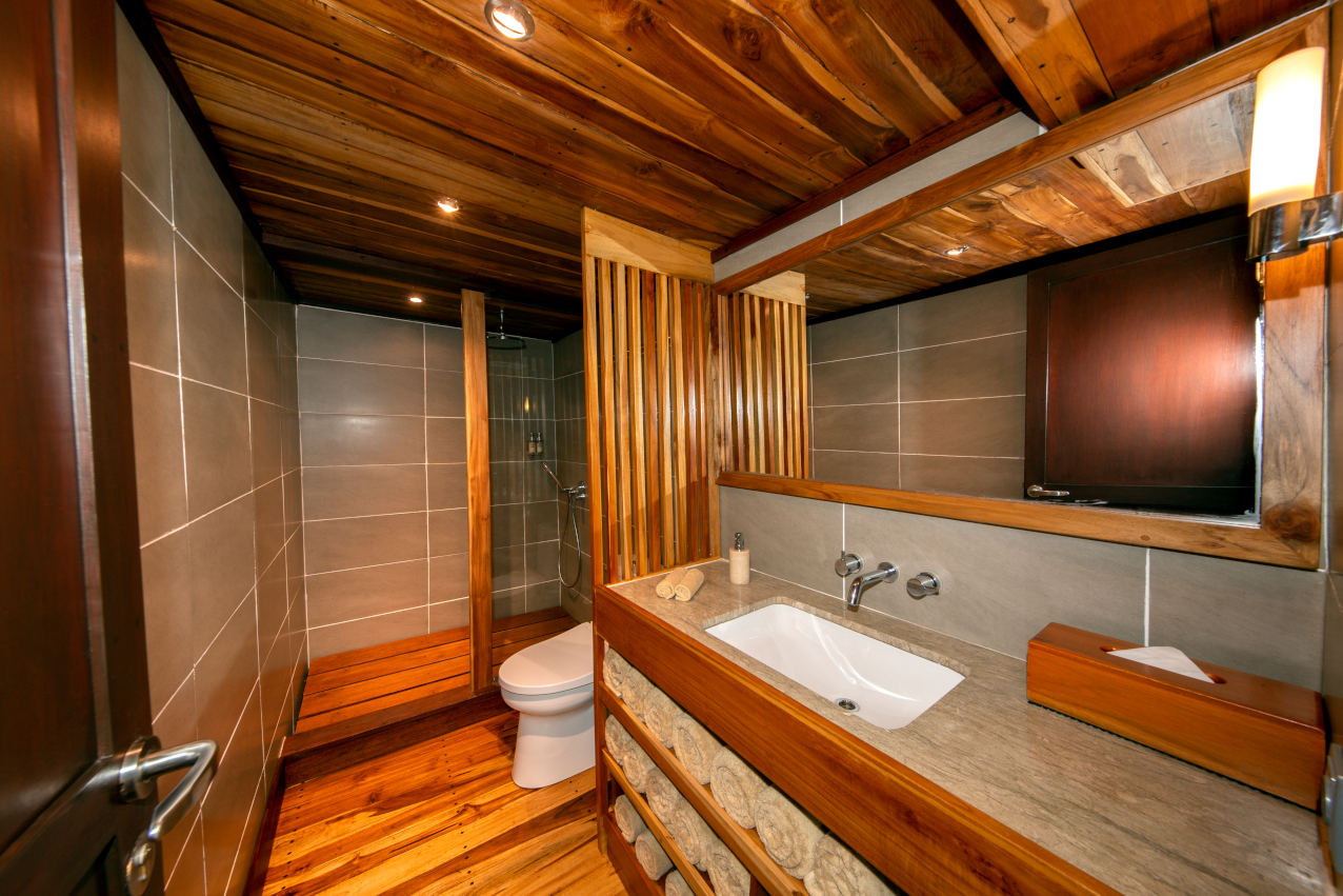bathroom of our master cabin on Coralia Liveaboard Indonesia