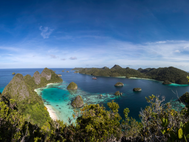 top view of our cruise ship Coralia between islands of Raja Ampat