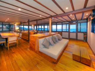 airconditioned indoor dining area on our cruise ship Coralia in Indonesia