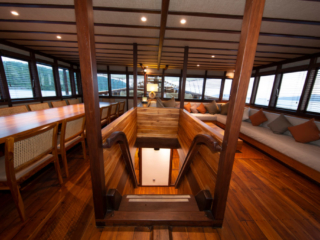 inside dining area of our Coralia Liveaboard in Indonesia