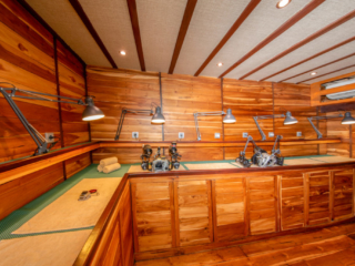dedicated camera room on the main deck of Coralia Liveaboard
