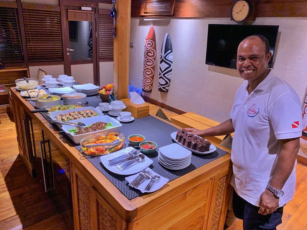 the main cook on our Coralia Liveaboard Indonesia
