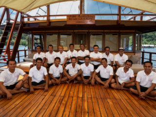 the friendly team of our cruise ship Coralia in Indonesia
