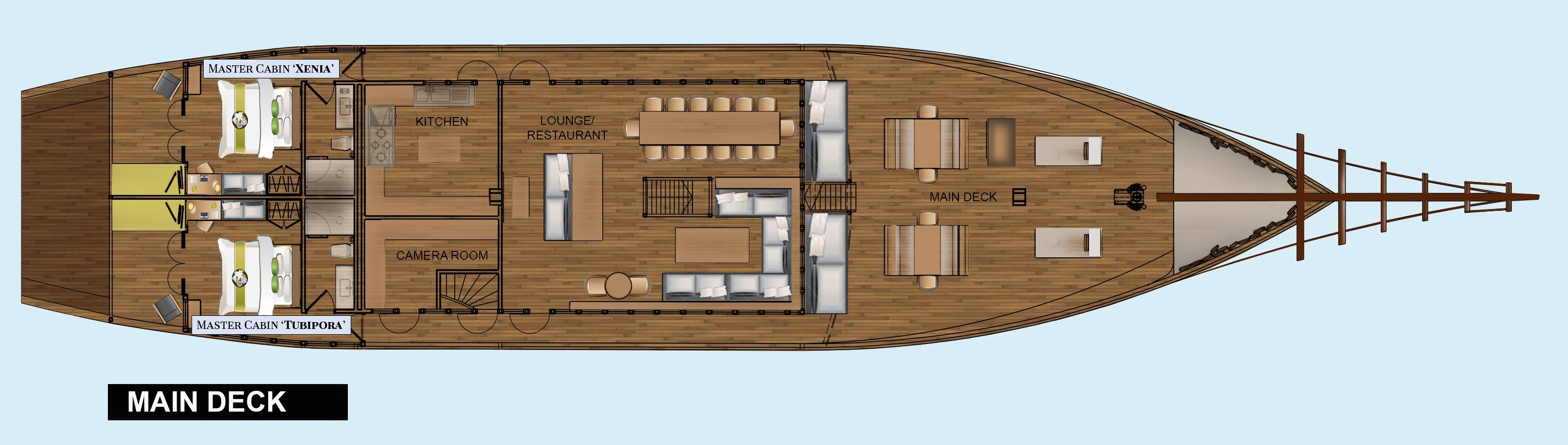 Layout of the main deck of our Coralia Liveaboard in Indonesia