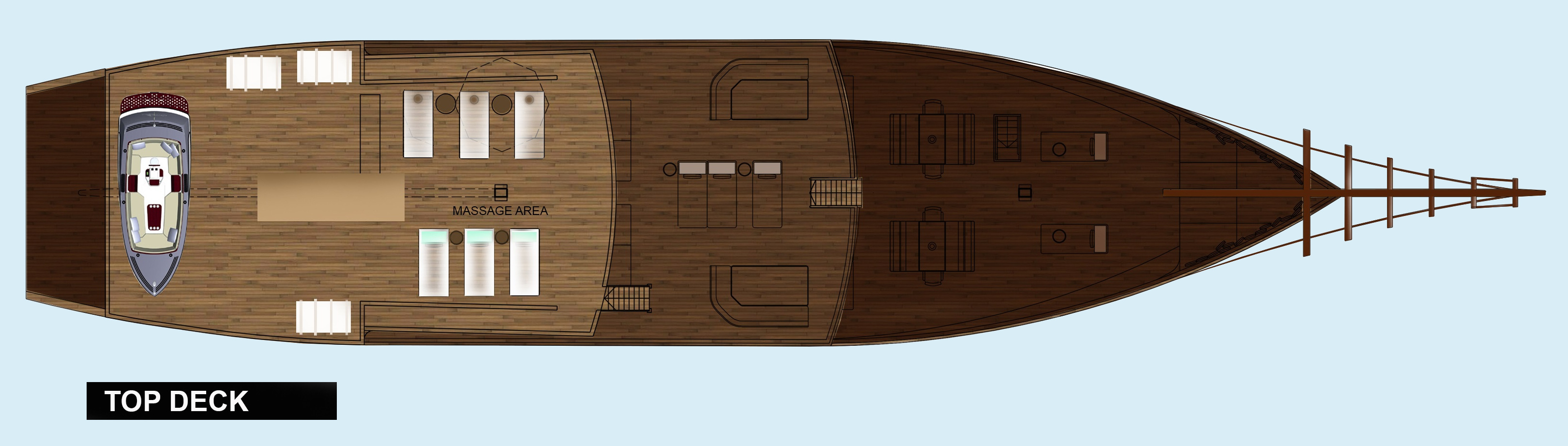 The layout plan of the top deck of our Coralia Liveaboard in Indonesia