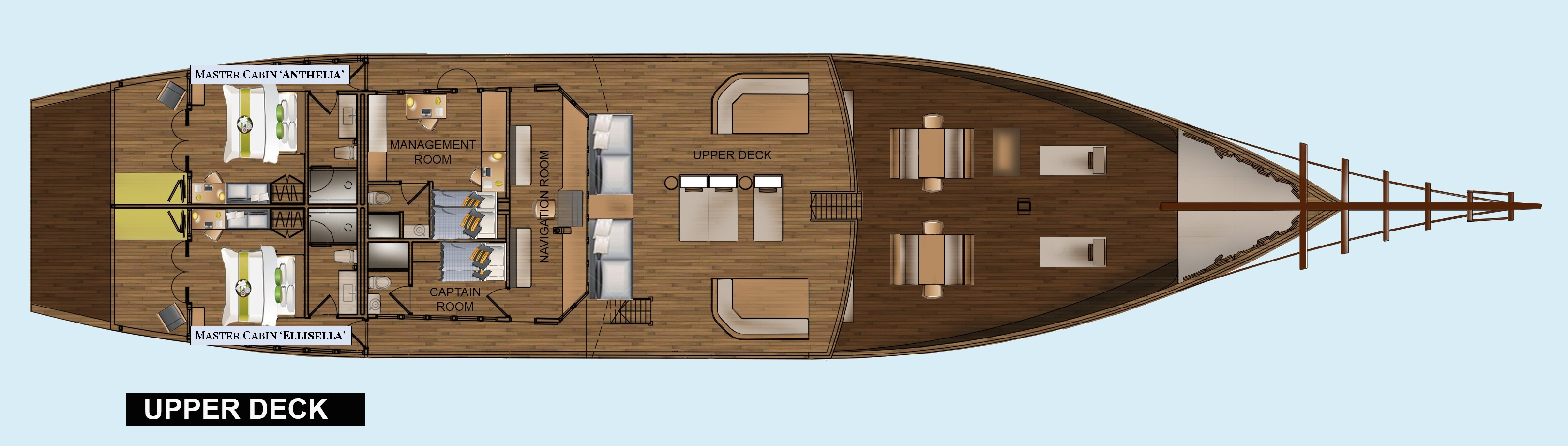 Layout of the upper deck of our Coralia Liveaboard in Indonesia