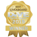 a bagde that shows Coralia won the dive travel award for best Liveaboard in 2019