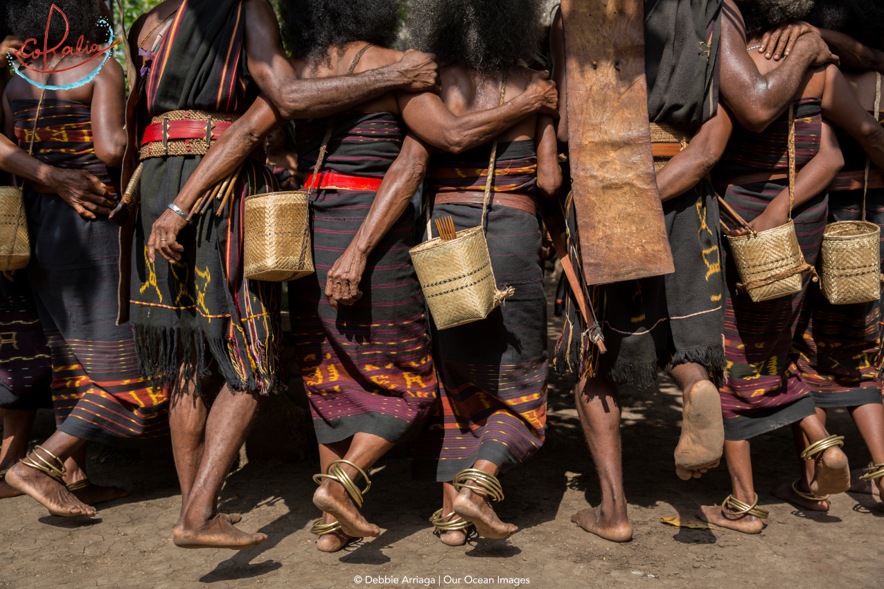 Abui tribe traditional dance in Alor shown from the back