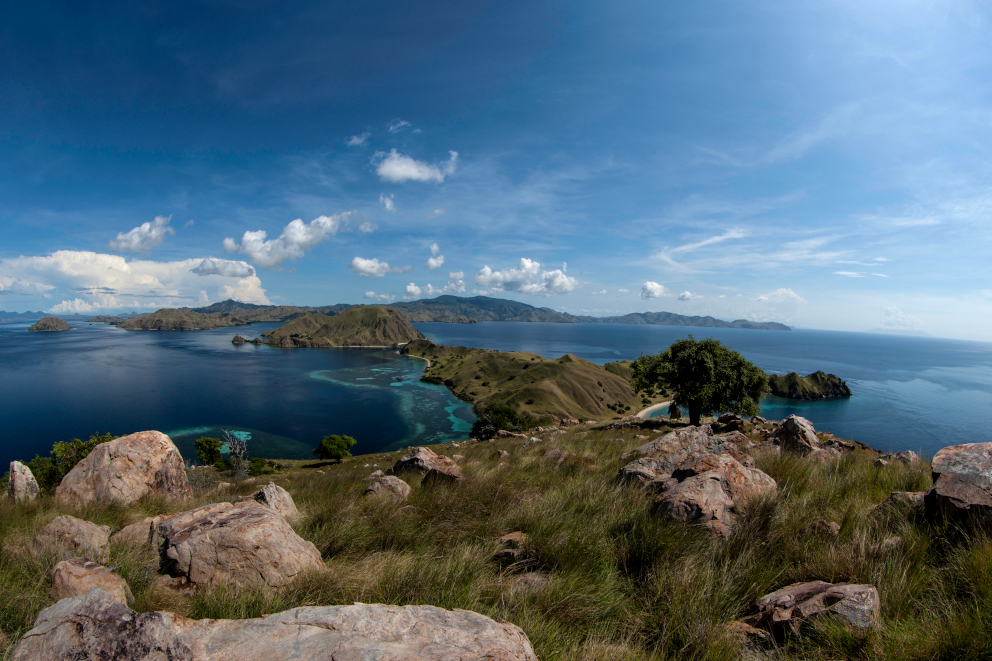View of the ocean and landscape in Komodo Indonesia